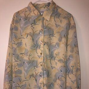 Jansen  vintage cream & Blue blouse size 14